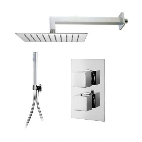 Abacus Emotion Thermostatic Square Concealed Shower Mixer With Head And Slimline Handset - Chrome